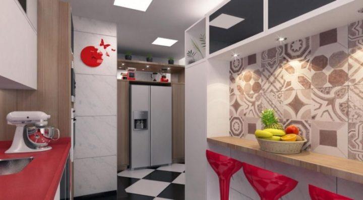 cozinha em decoração vermelha, branca e preta